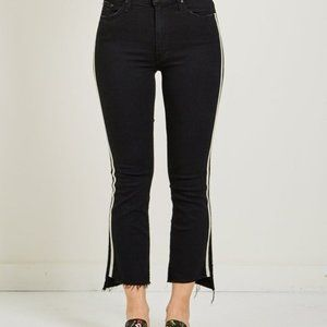 MOTHER insider high-rise crop fray racer jeans